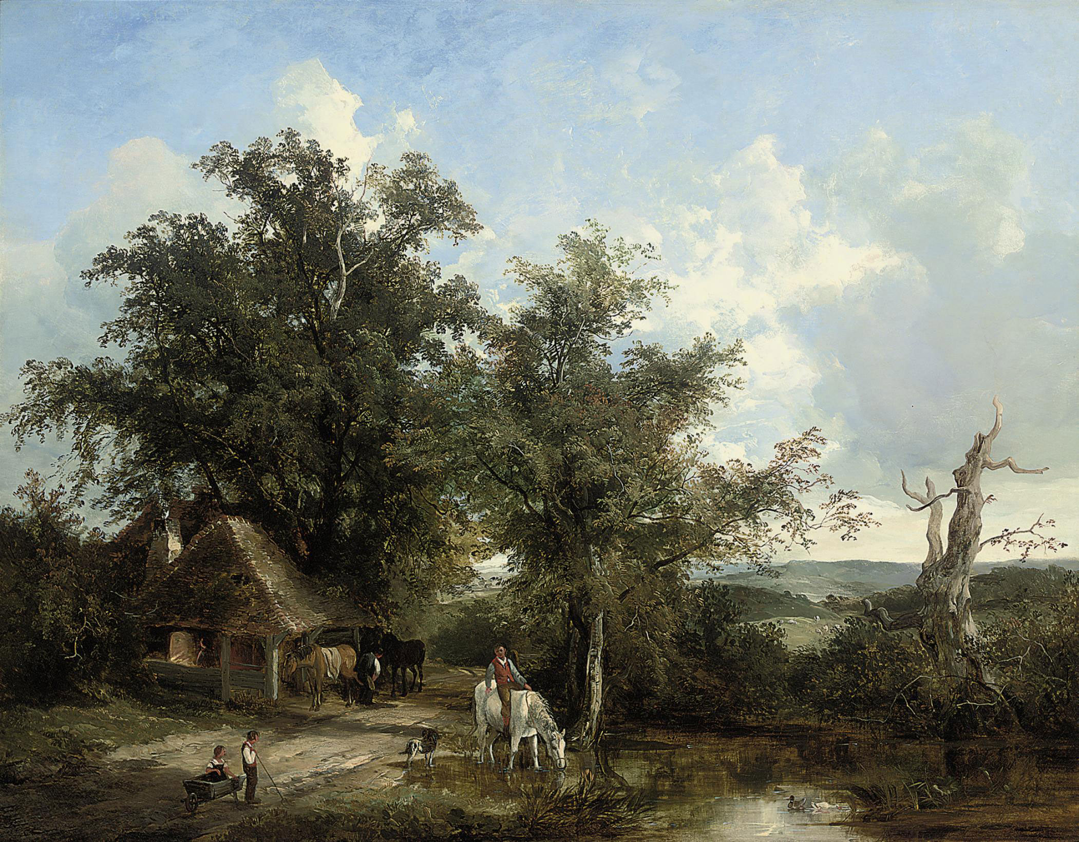 Figures watering a horse beside a country road
