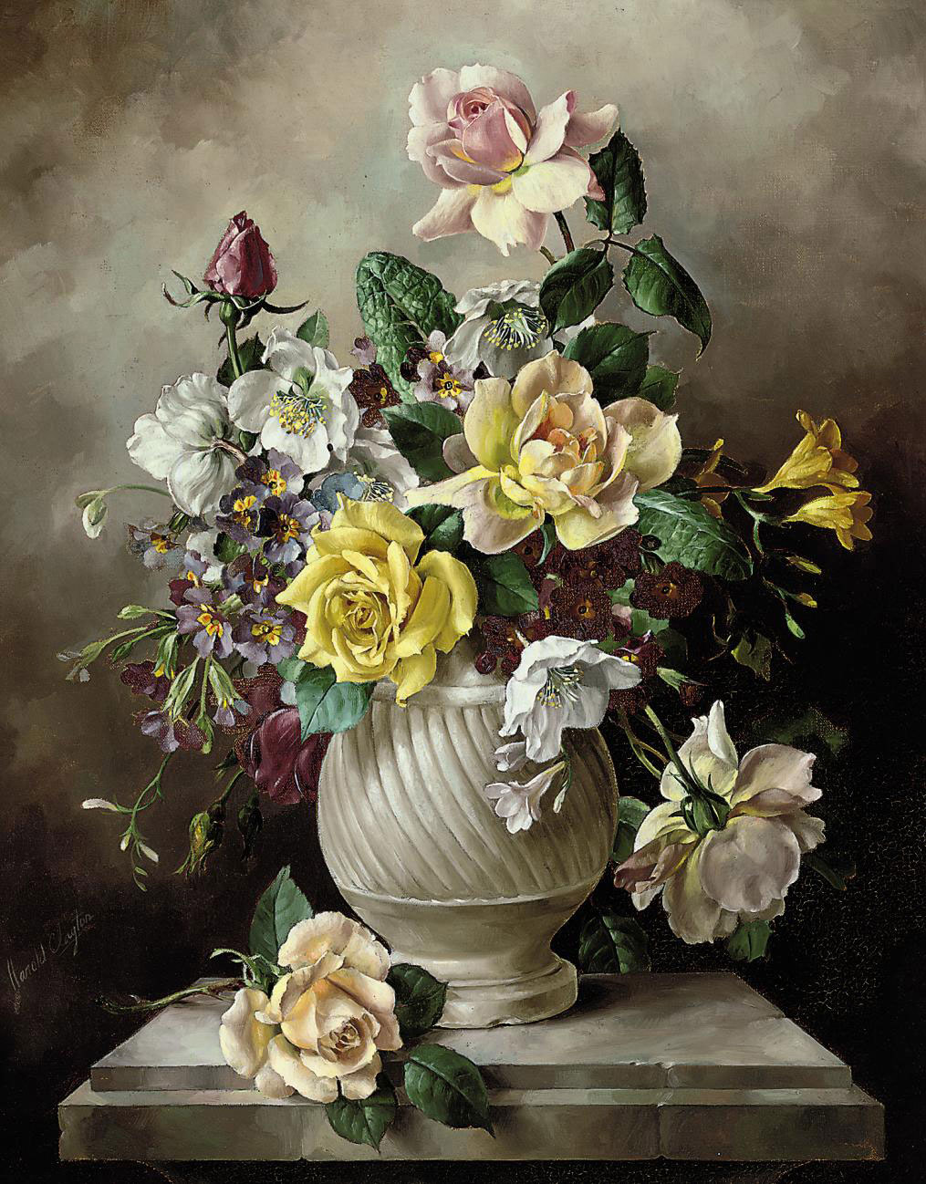 Roses, freesias, primroses and dog roses in a white urn on a marble pedestal
