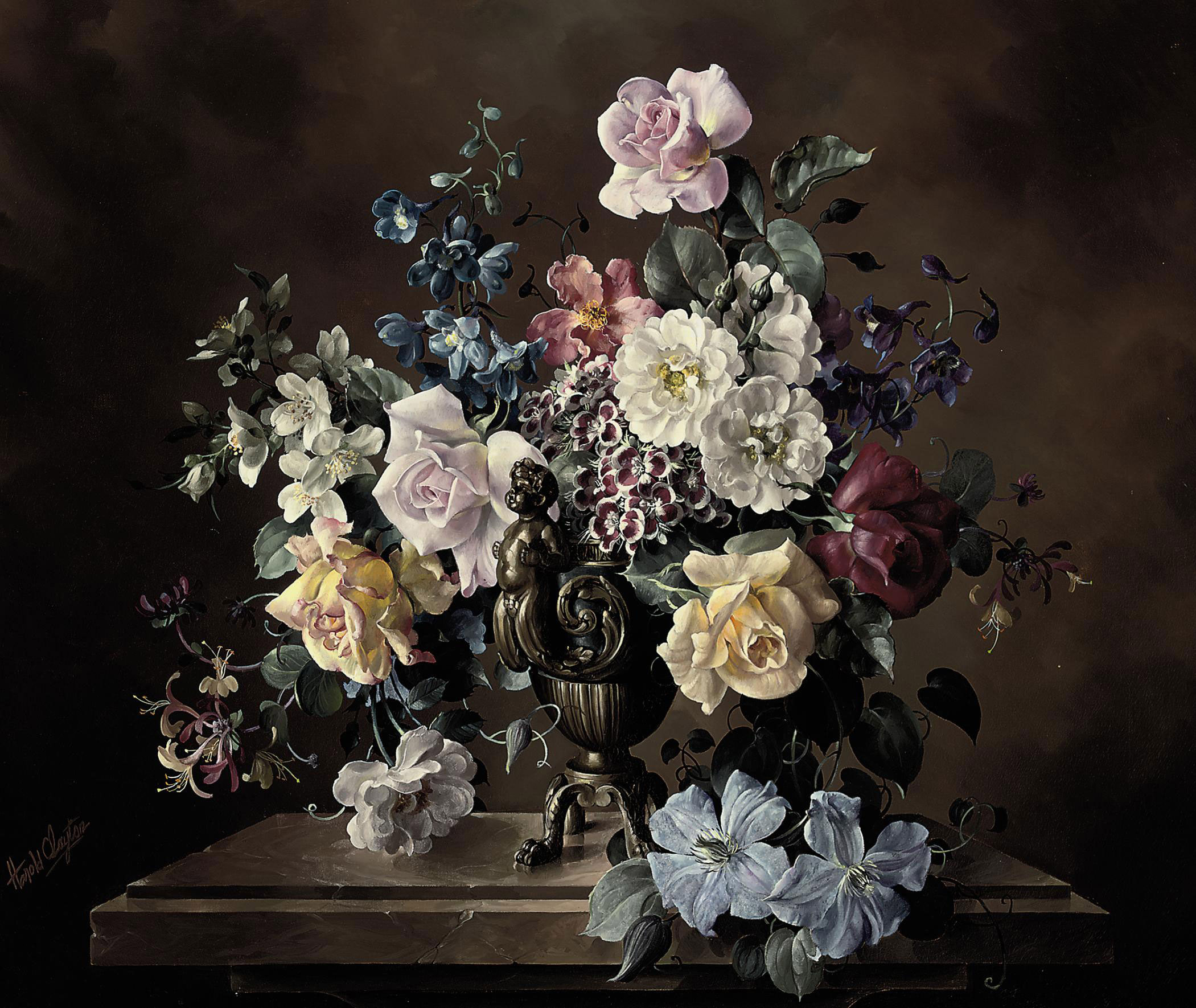 Roses, honeysuckle, delphiniums, clematis and other flowers in a bronze urn with putti on a marble pedestal