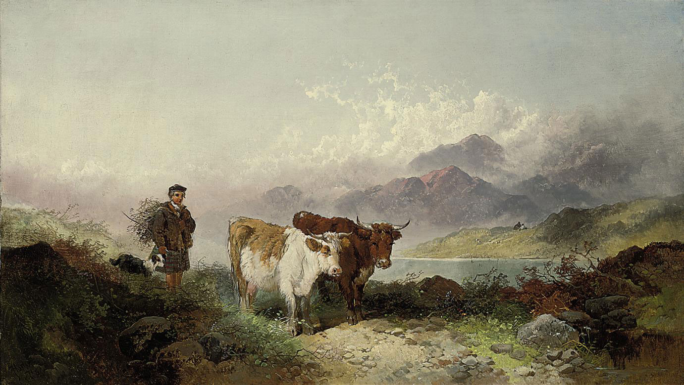 A drover and cattle beside a Highland Loch