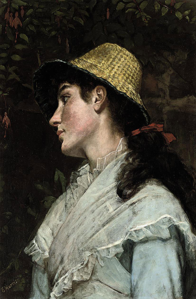 Portrait of a girl, bust-length, in a pale blue dress with a chiffon shawl, wearing a straw hat