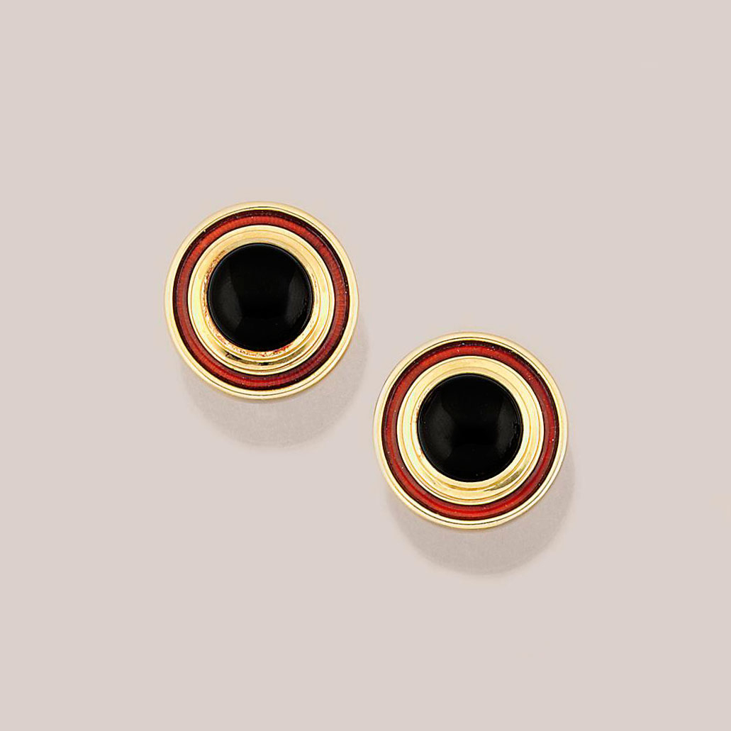 A pair of 18ct. gold, onyx and enamel earrings, by de Vroomen