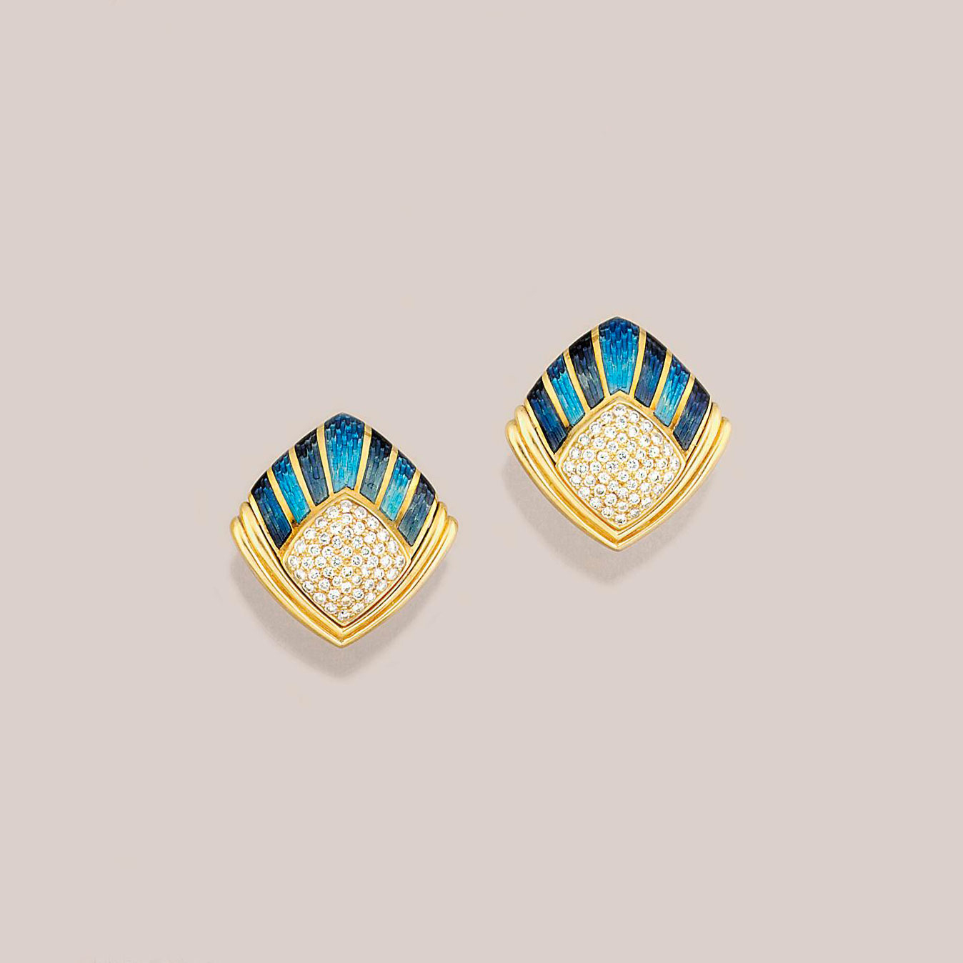 A pair of 18ct. gold, diamond and enamel earrings, by de Vroomen