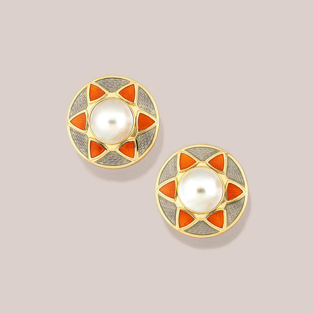 A pair of 18ct. gold, enamel and mabé cultured pearl earrings, by de Vroomen