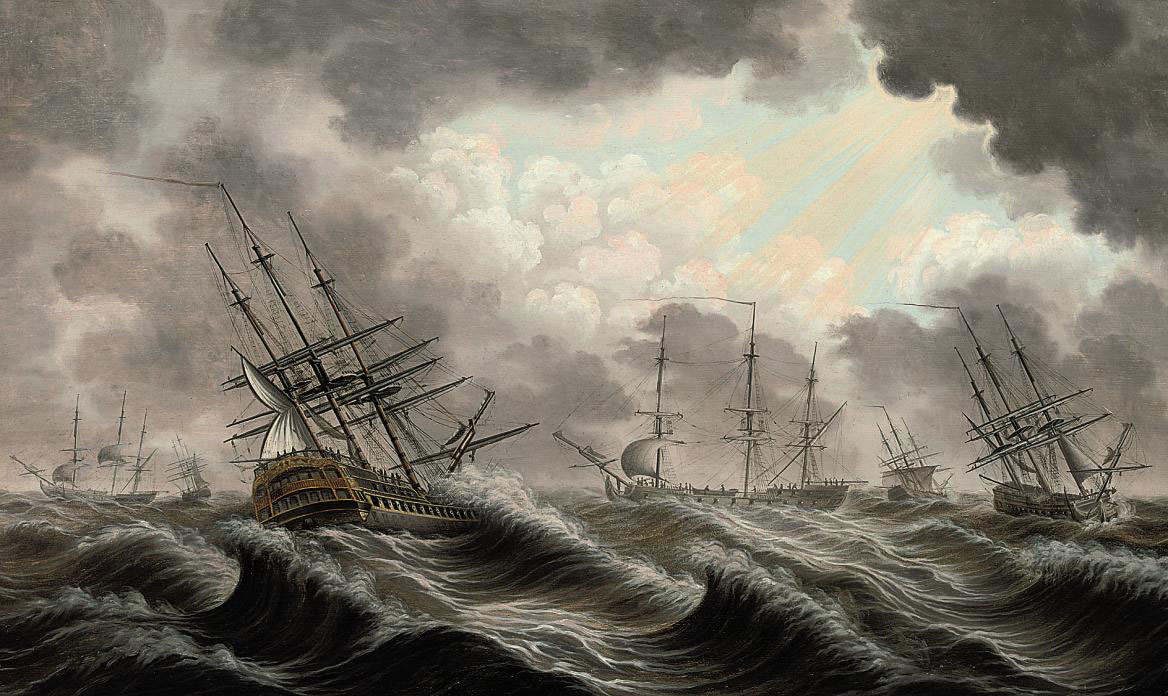 A squadron of the fleet weathering a heavy gale, the sun breaking through the clouds