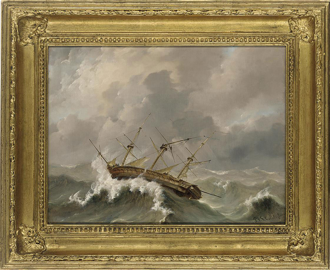 A dismasted frigate wallowing in the gale