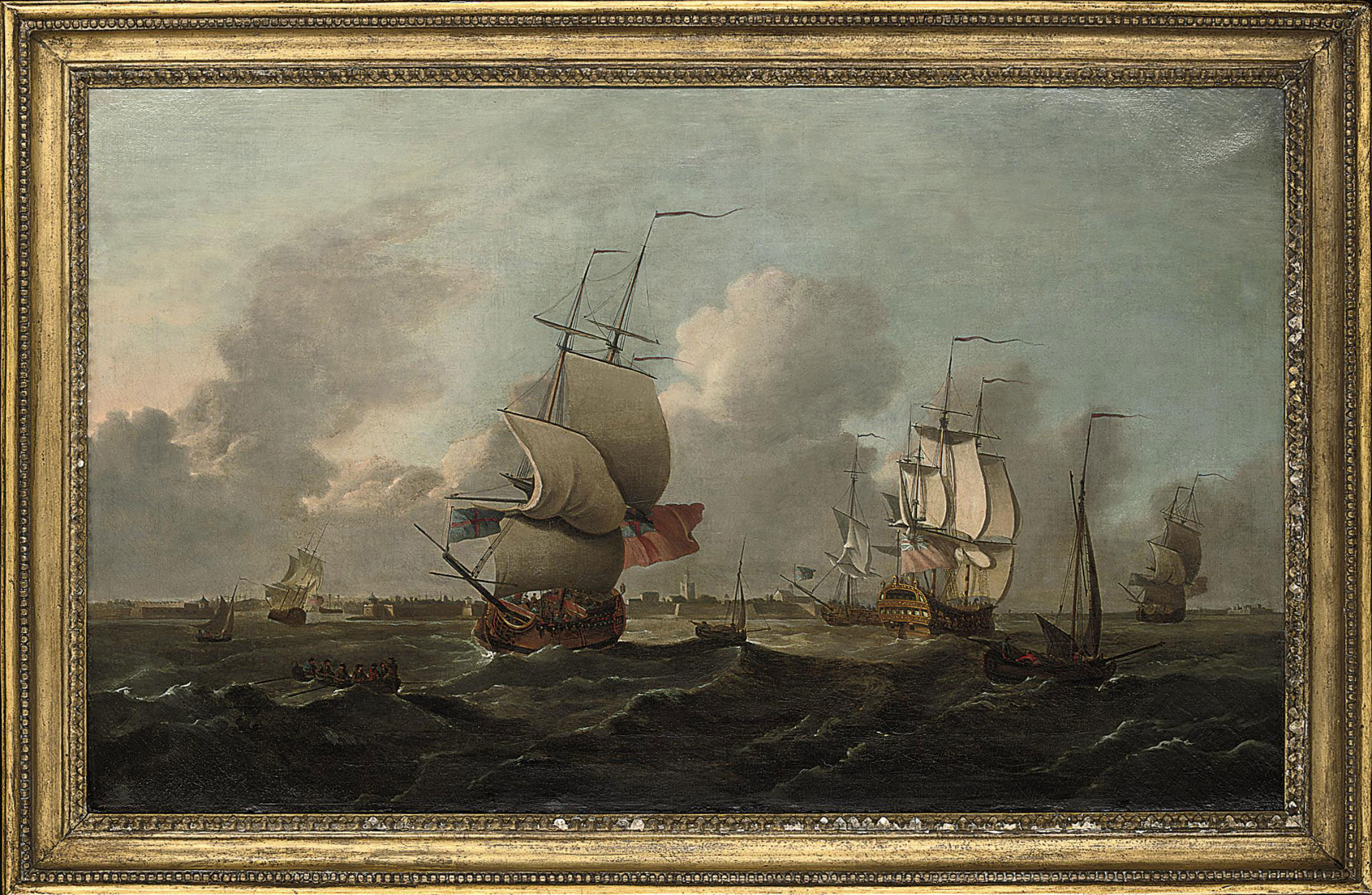 Ships of the Fleet off the naval dockyard at Sheerness