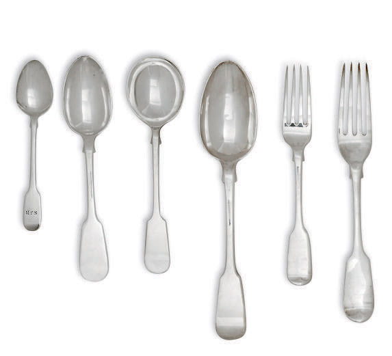 A PART-TABLE SERVICE OF GEORGE IV/MODERN SILVER FIDDLE PATTERN FLATWARE
