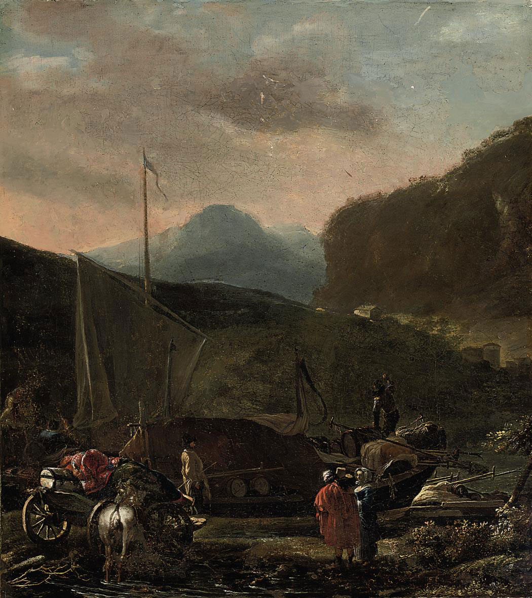 A river landscape with a ship carrying cargo, travellers with their horse and cart on a bank