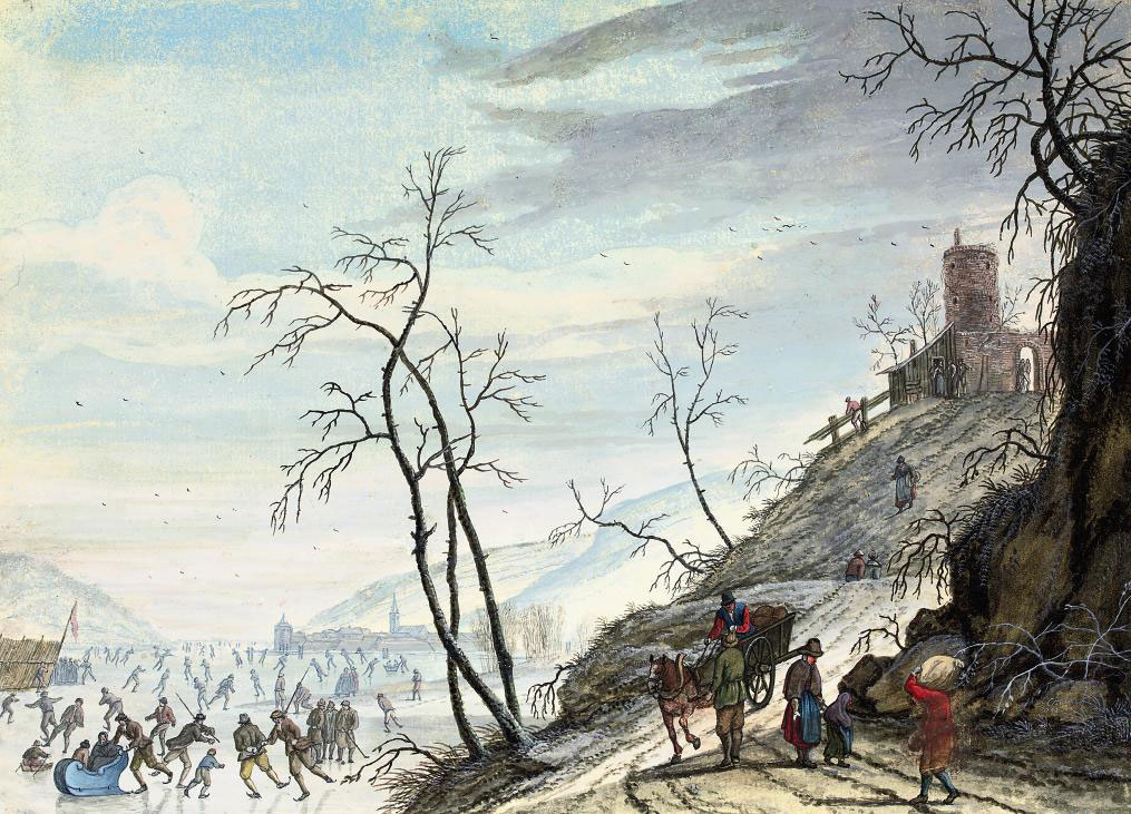 A Dutch winter landscape with figures skating on a frozen river