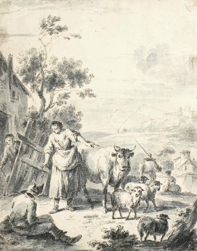 A milkmaid with cattle and sheep