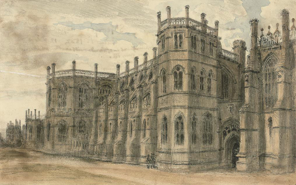 Three views of Windsor: Julius Caesar's Tower; Caesar's Tower, The Lock House and Wyattville Tower; and St. George's Chapel and Mausoleum (illustrated)