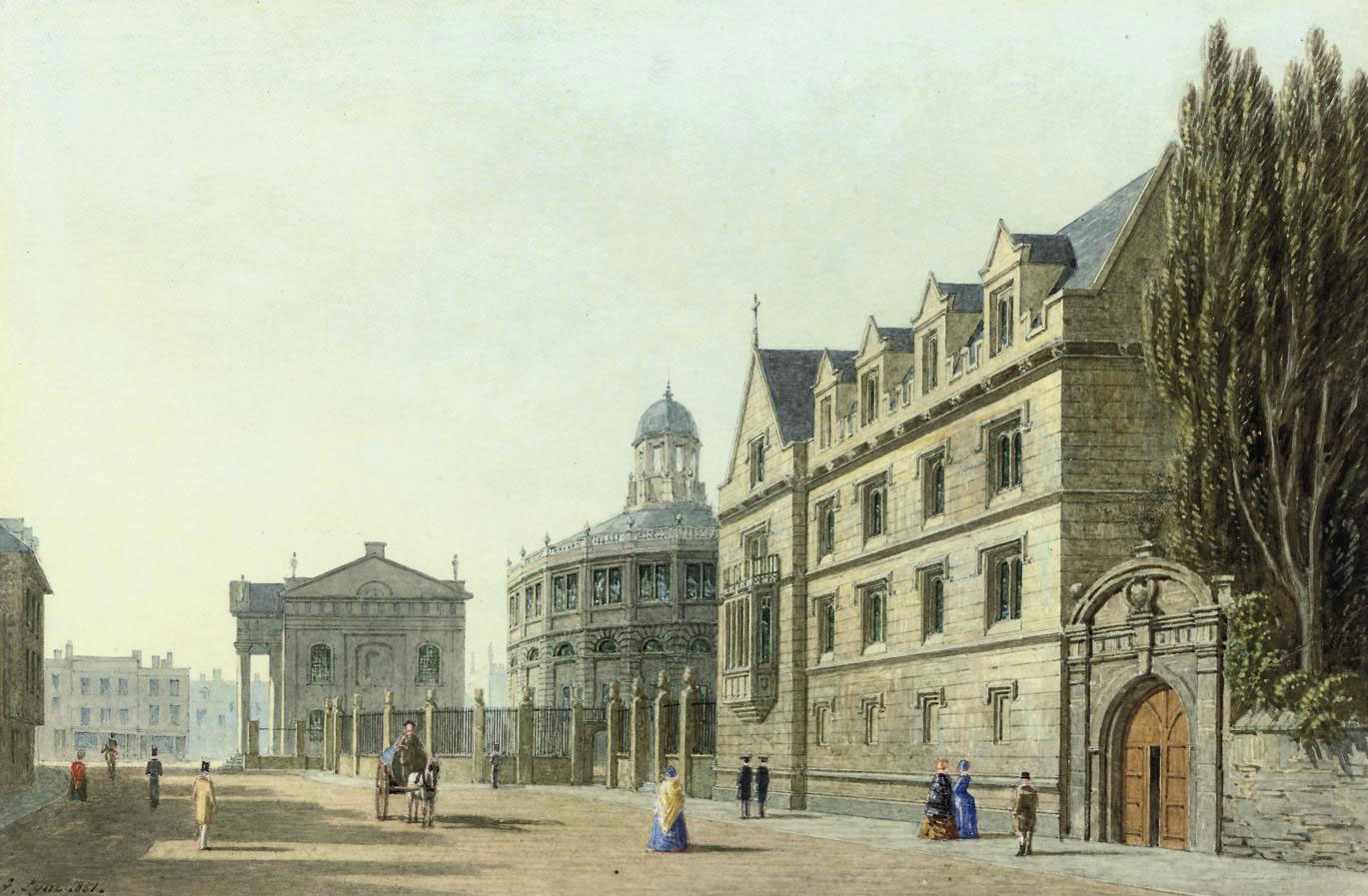 View of the Clarendon building, Sheldonian Theatre and Exeter College, Broad Street, Oxford