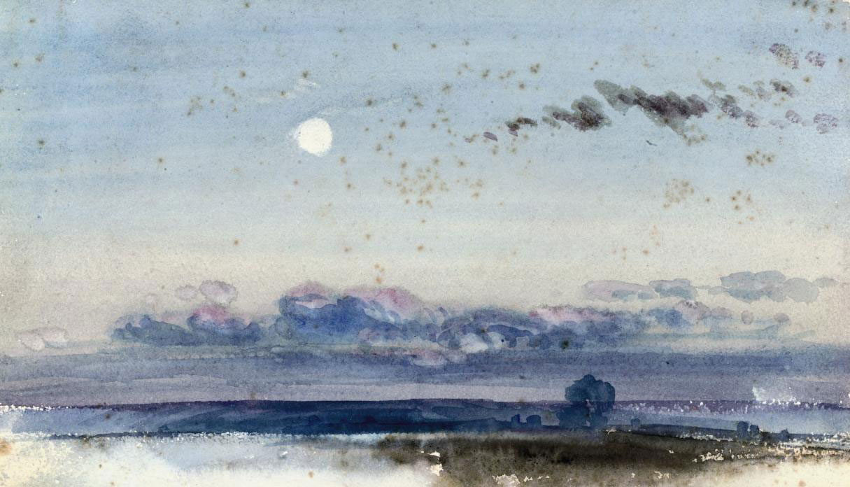 Summer evening at dusk (illustrated); and Cloud study