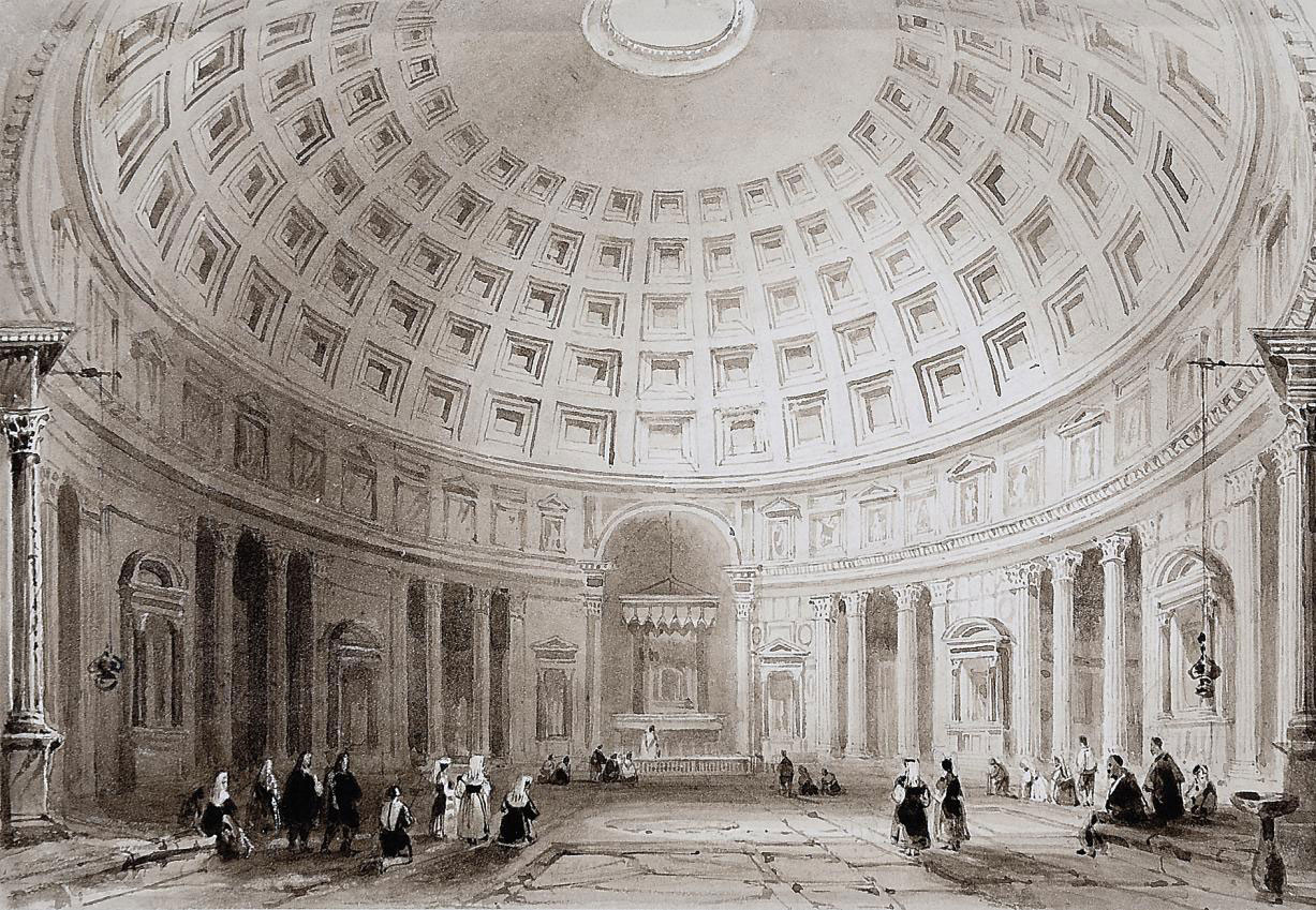 A collection of Continental views including: The interior of St. Peter's, Rome (illustrated); The interior of the Pantheon, Rome; Aosta, Northern Italy; Bacharach on the Rhine; and On the banks of the Rhine