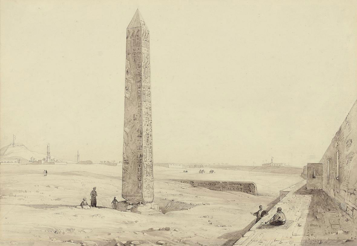 View of Cleopatra's Needle in its original position outside Alexandria, Egypt
