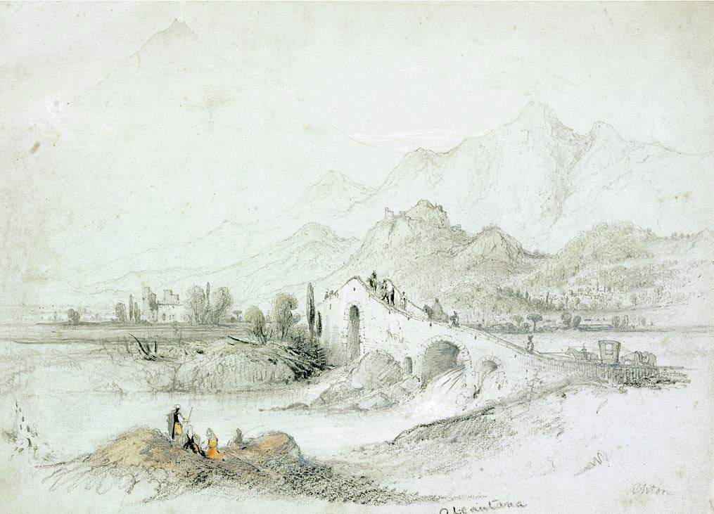 A collection of Continental views including: On the Seine; Tankerville; A cart and figures on a beach at low tide; Alcantara (illustrated); A figure before a ruined castle; A cowherd with his herd; and Figures on a horse-drawn cart on their way to market