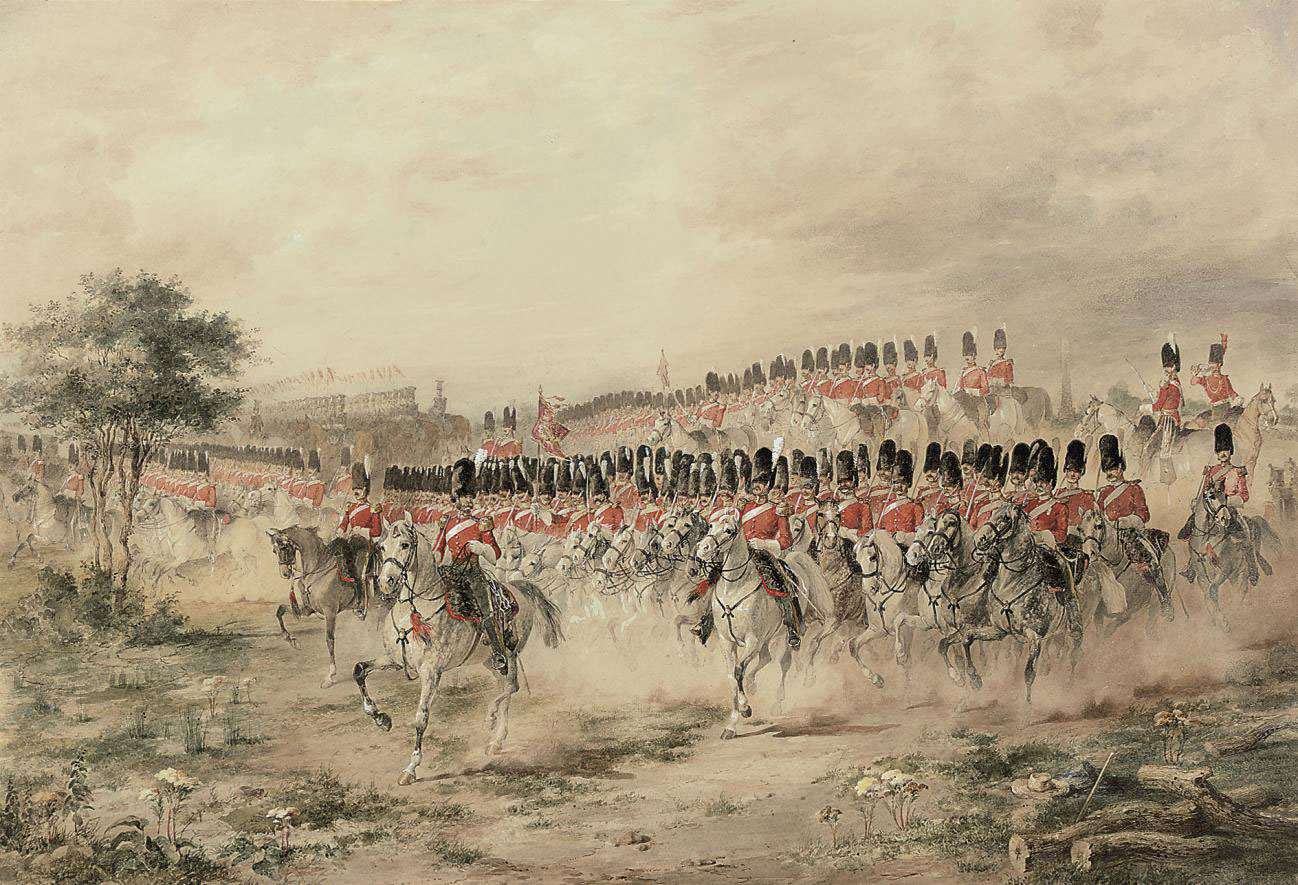 The cavalry regiments: The 2nd Dragoon Guards (The Royal Scots Greys) and the 19th Lancers at a mounted review, circa 1850
