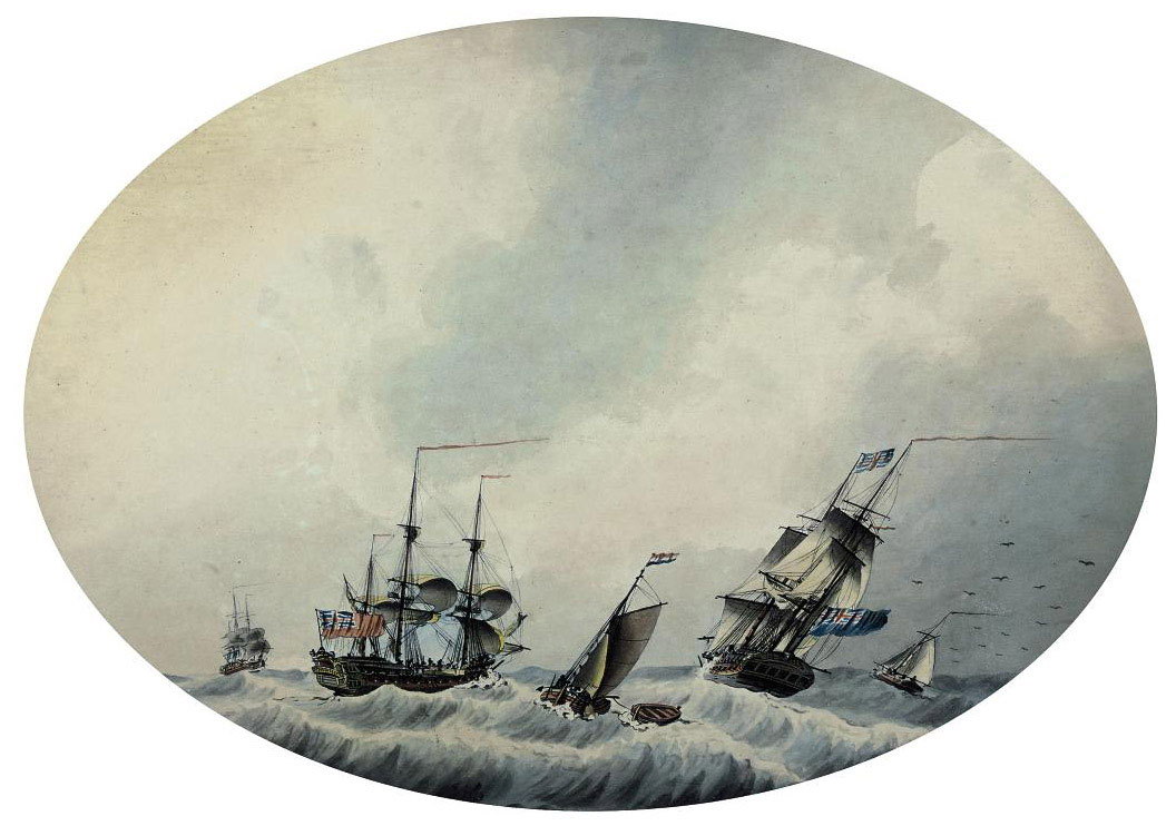 Royal Navy frigates in an offshore breeze (illustrated); and Shipping off the Downs