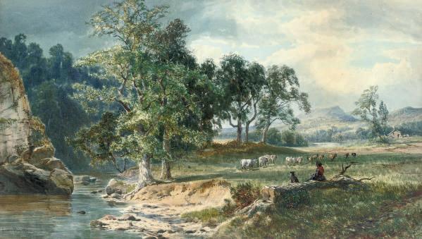 A shepherdess watching her flock by a stream