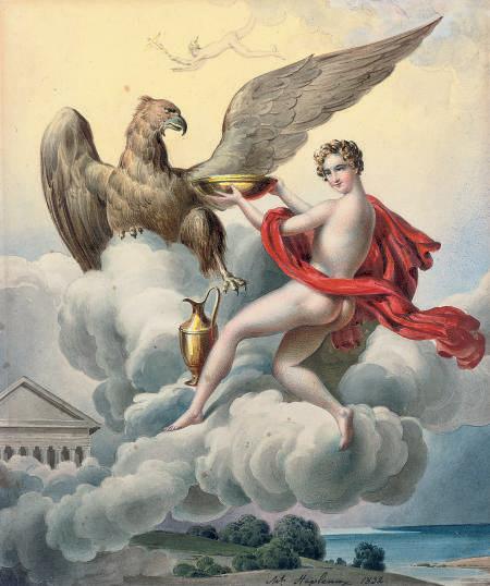 Jupiter, transformed into an eagle, seducing Ganymede