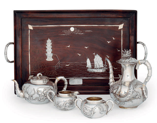 A CHINESE SILVER FOUR PIECE TEA AND COFFEE SERVICE