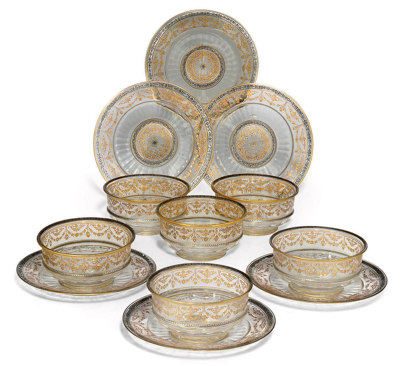 A SET OF SIX LOBMEYER GLASS BOWLS AND STANDS