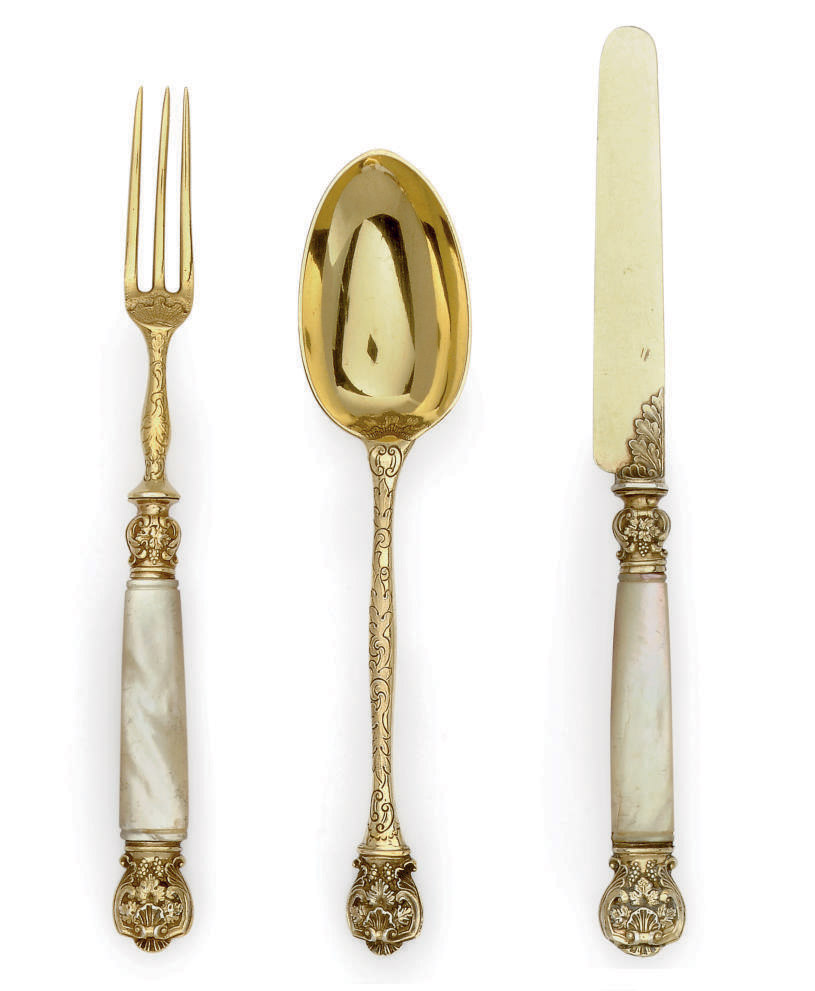 A SILVER-GILT AND MOTHER-OF-PEARL DESSERT SERVICE