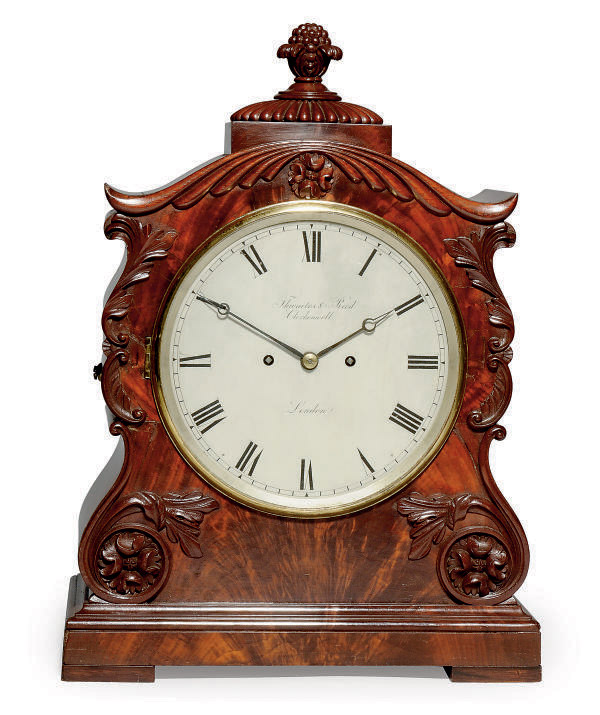 A WILLIAM IV MAHOGANY STRIKING EIGHT DAY TABLE CLOCK