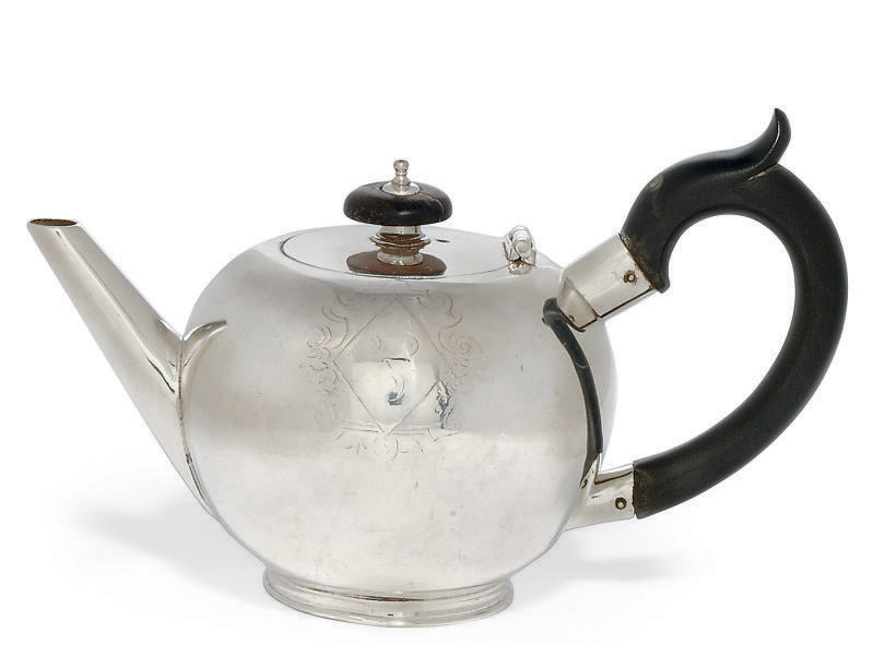 A GEORGE I SILVER BULLET TEAPOT