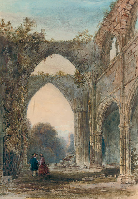 MEETING AT DUSK IN A RUINED ABBEY