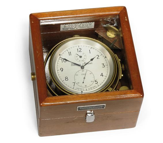 AN ENGLISH MAHOGANY TWO DAY MARINE CHRONOMETER