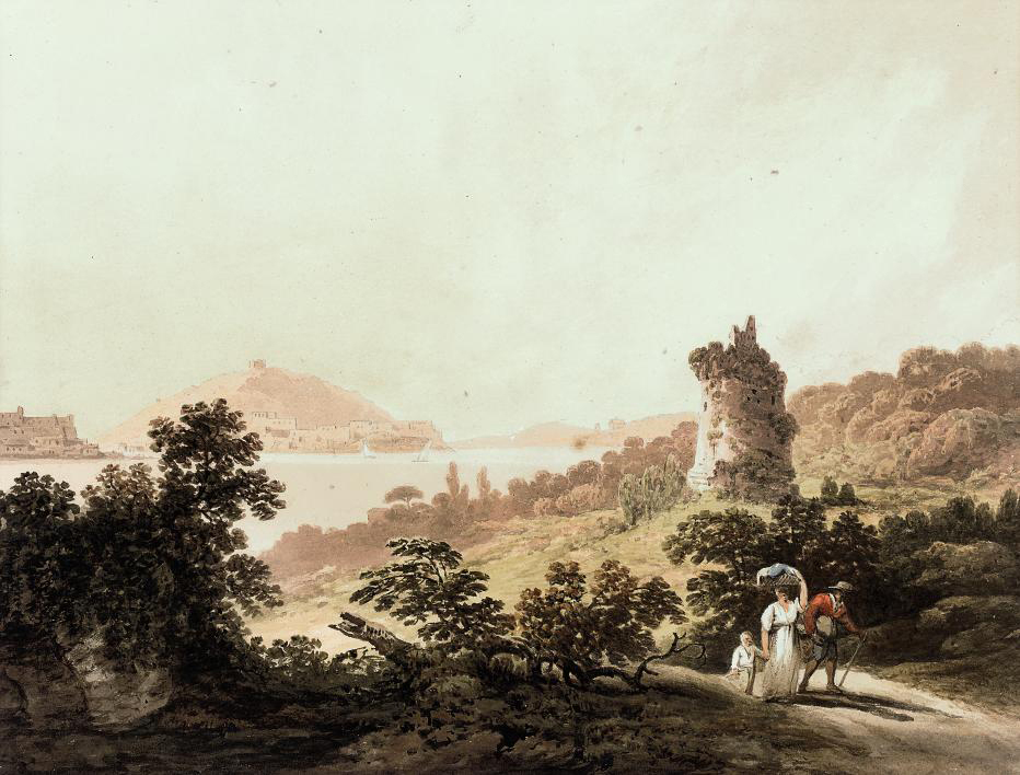Travellers before a ruined tower above the Welsh coast