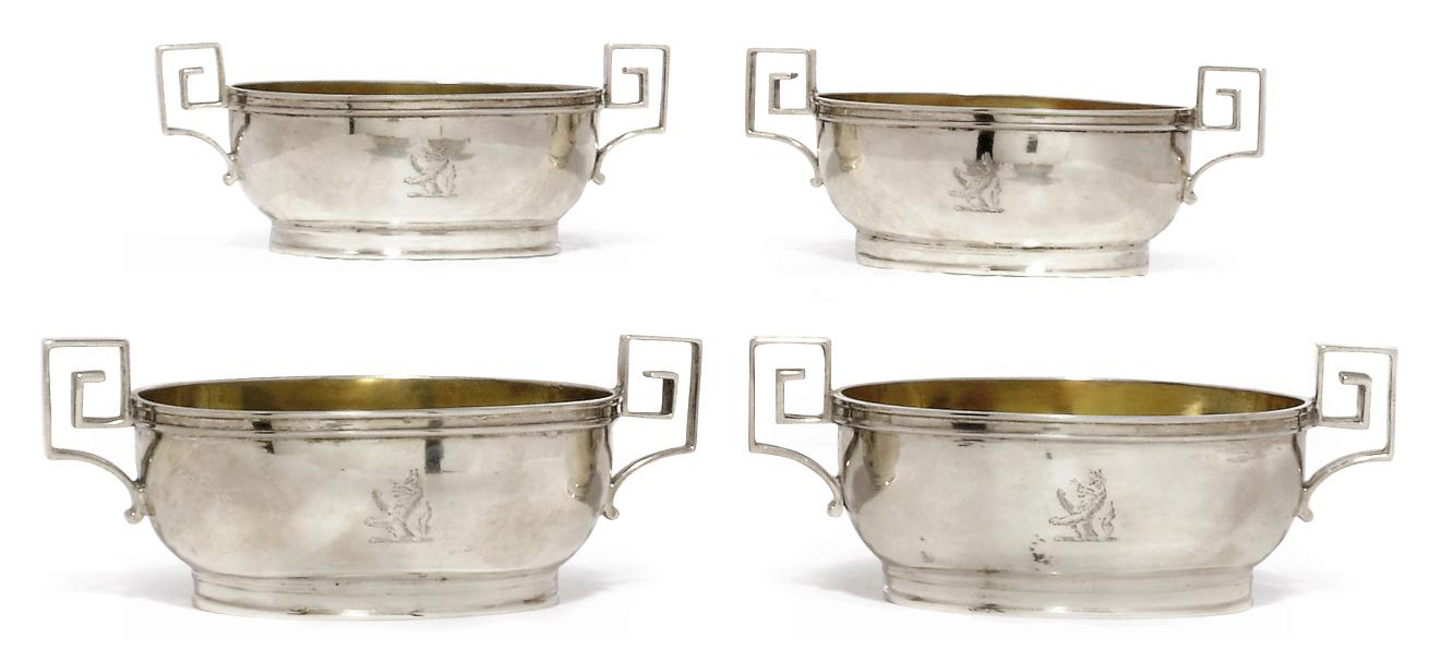 A SET OF FOUR GEORGE III OVAL SILVER SALTS