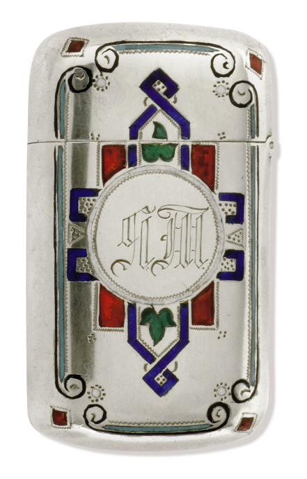 A RUSSIAN SILVER AND CHAMPLEVE ENAMEL VESTA CASE