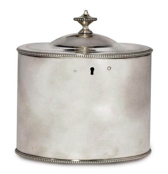 A GEORGE III PLAIN OVAL SILVER TEA CADDY