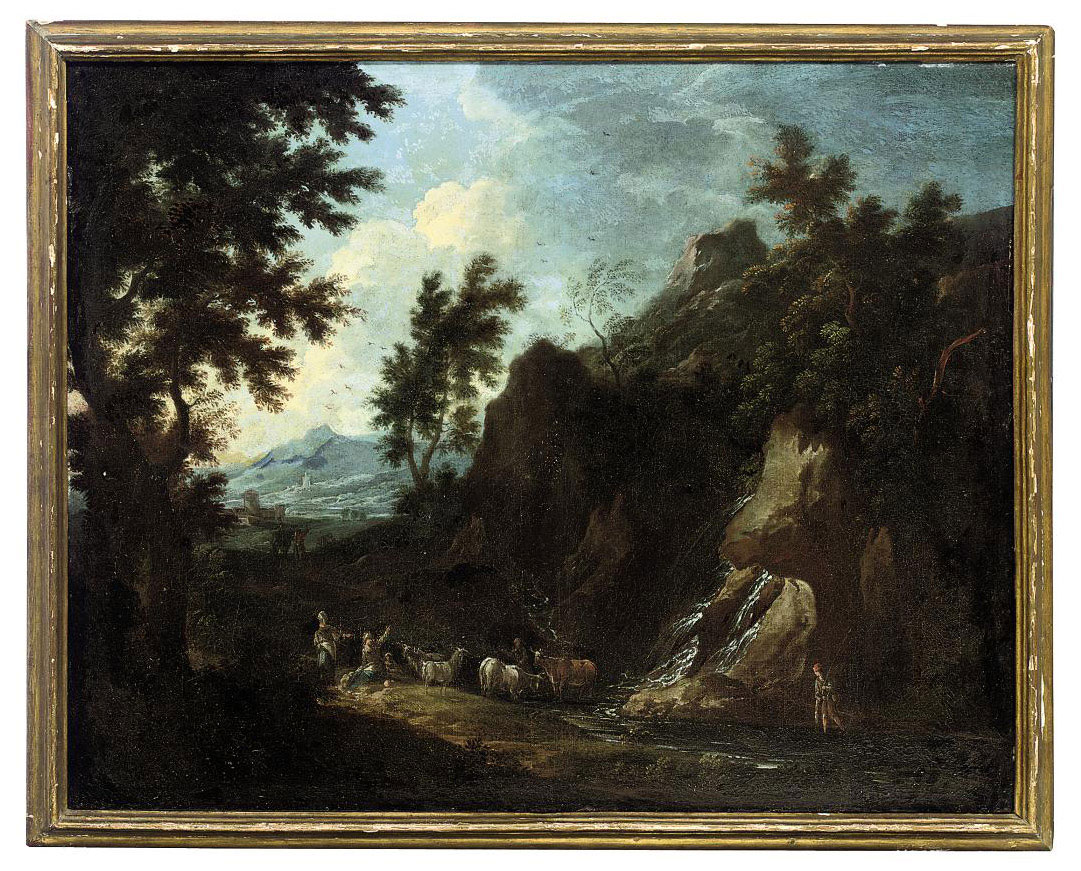 A rocky Italianate landscape with drovers and cattle