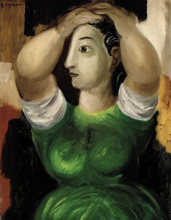 Woman dressing her hair