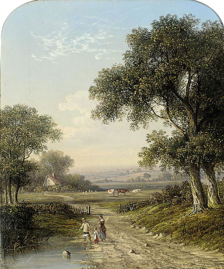 A boy with a basket on a wooded track and a girl picking berries, an extensive landscape beyond; and A family on a wooded track with cattle in an extensive landscape beyond