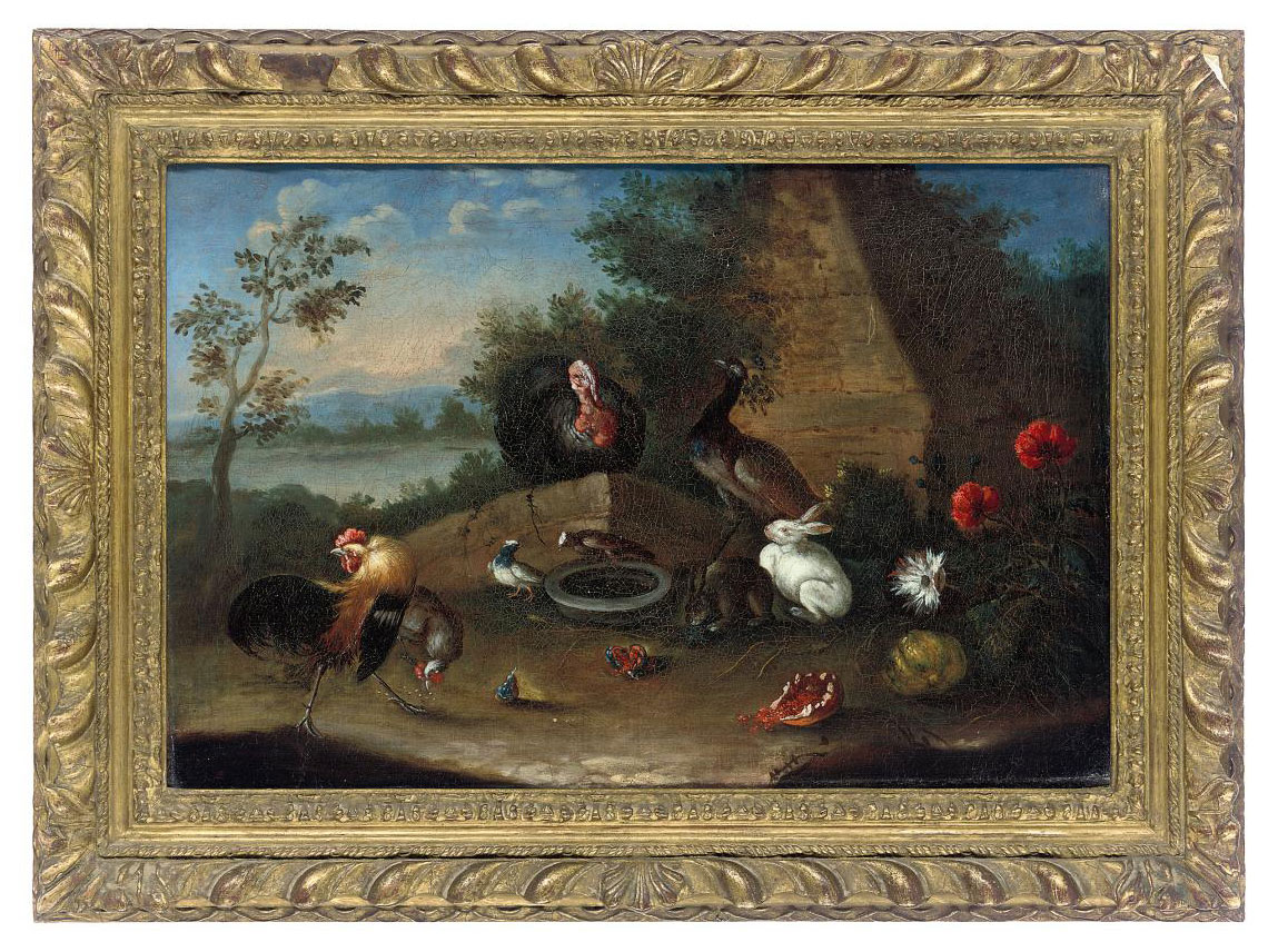 Cockerels, a turkey, peacock and rabbits in a landscape