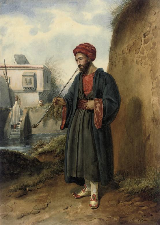 An Arab smoking