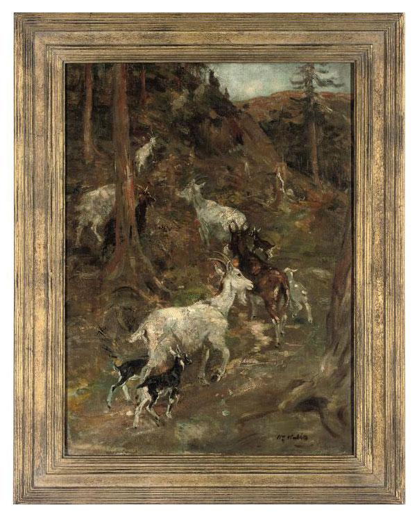 Goats in a mountainous landscape