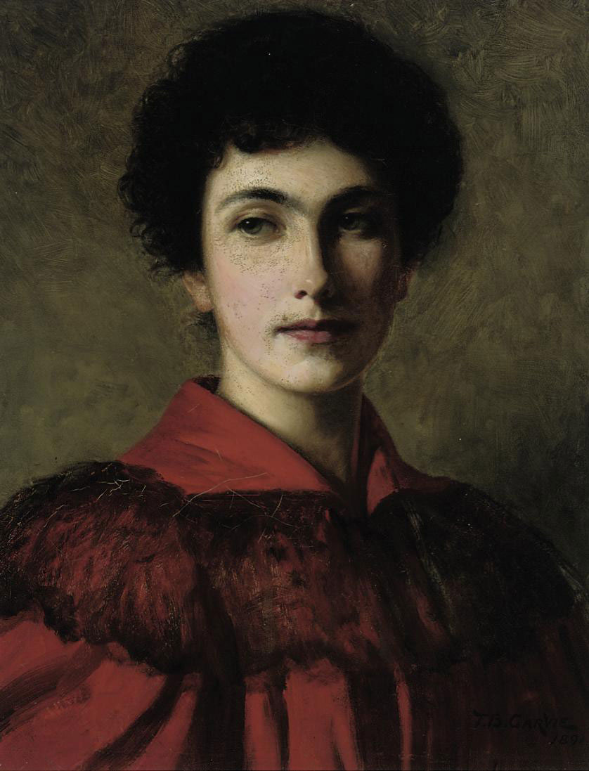 Portrait of Isabella Grey (b. 1870), bust-length, in a red dress