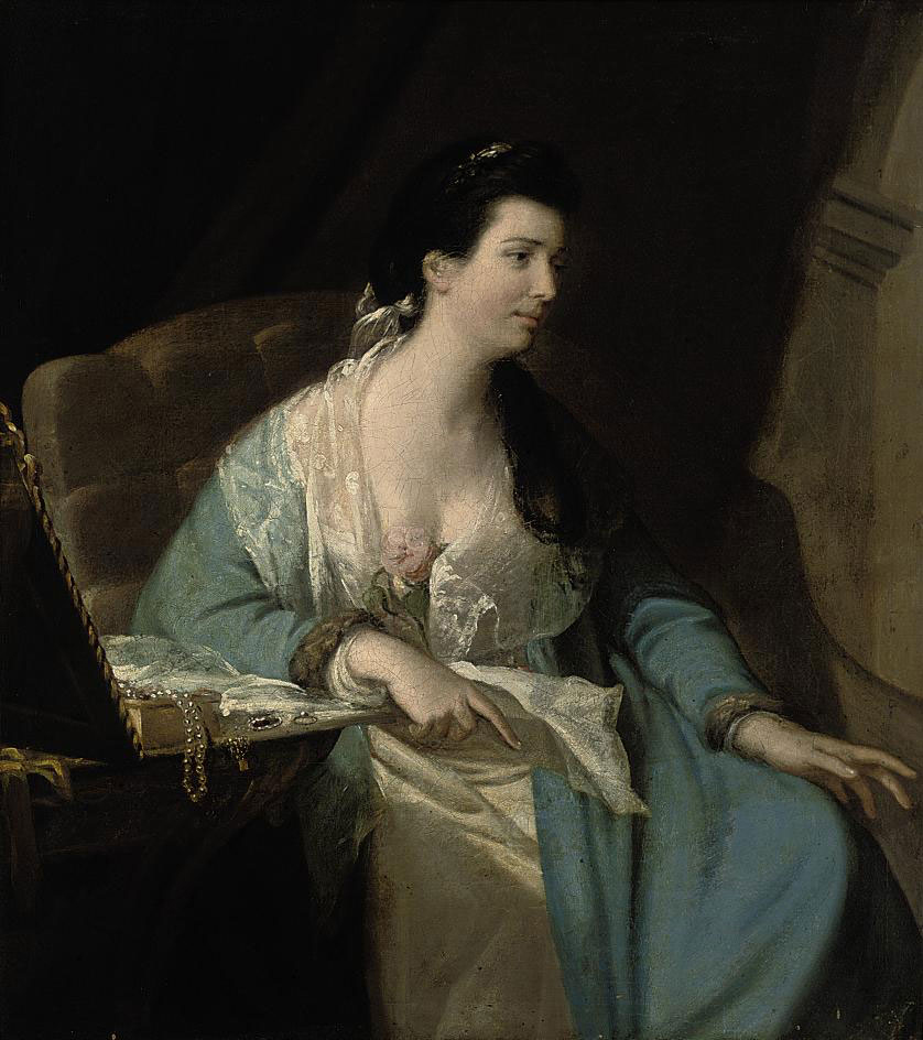 Portrait of a lady, three-quarter-length, seated, in a fur-trimmed blue dress with a lace wrap, beside a table with a box of jewels