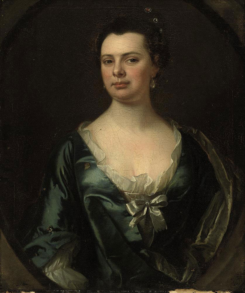 Portrait of a lady, half-length, in a blue dress, in a feigned oval