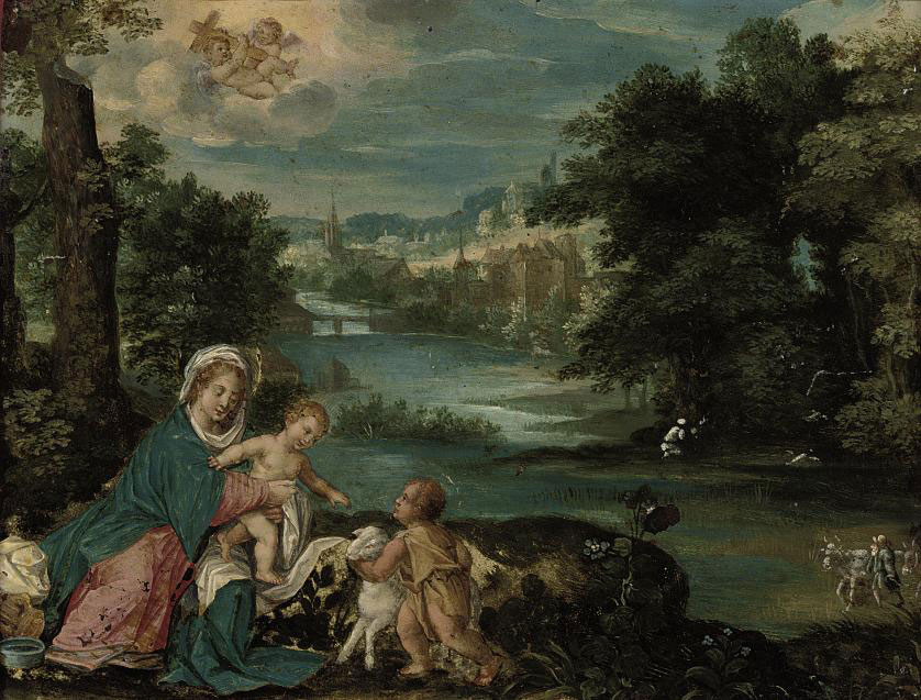 A river wooded landscape with the Madonna and Child with the infant Saint John the Baptist, a village beyond