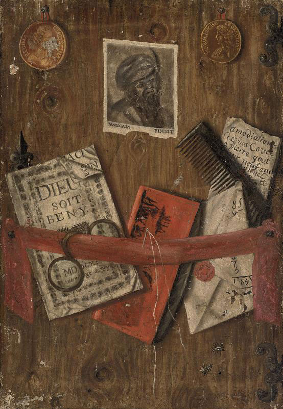A trompe l'oeil of two coins, letters, a needle and thread, a comb, a pair of glasses and two flies