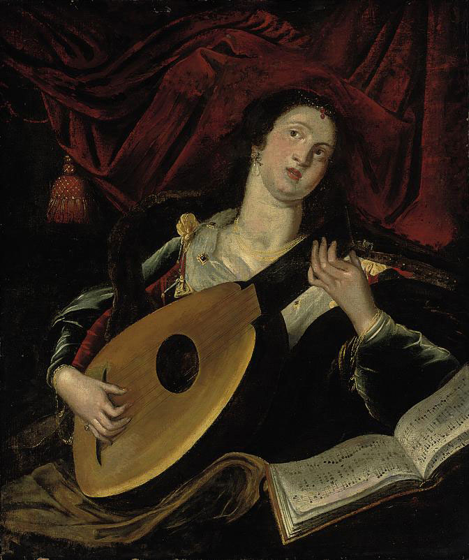 A lady playing a lute