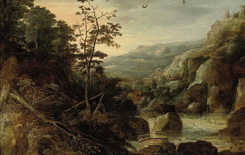 A wooded river landscape with a village beyond