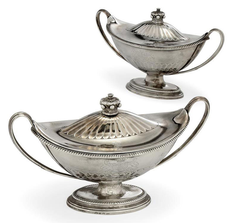 A PAIR OF GEORGE III SILVER SAUCE TUREENS AND COVERS,